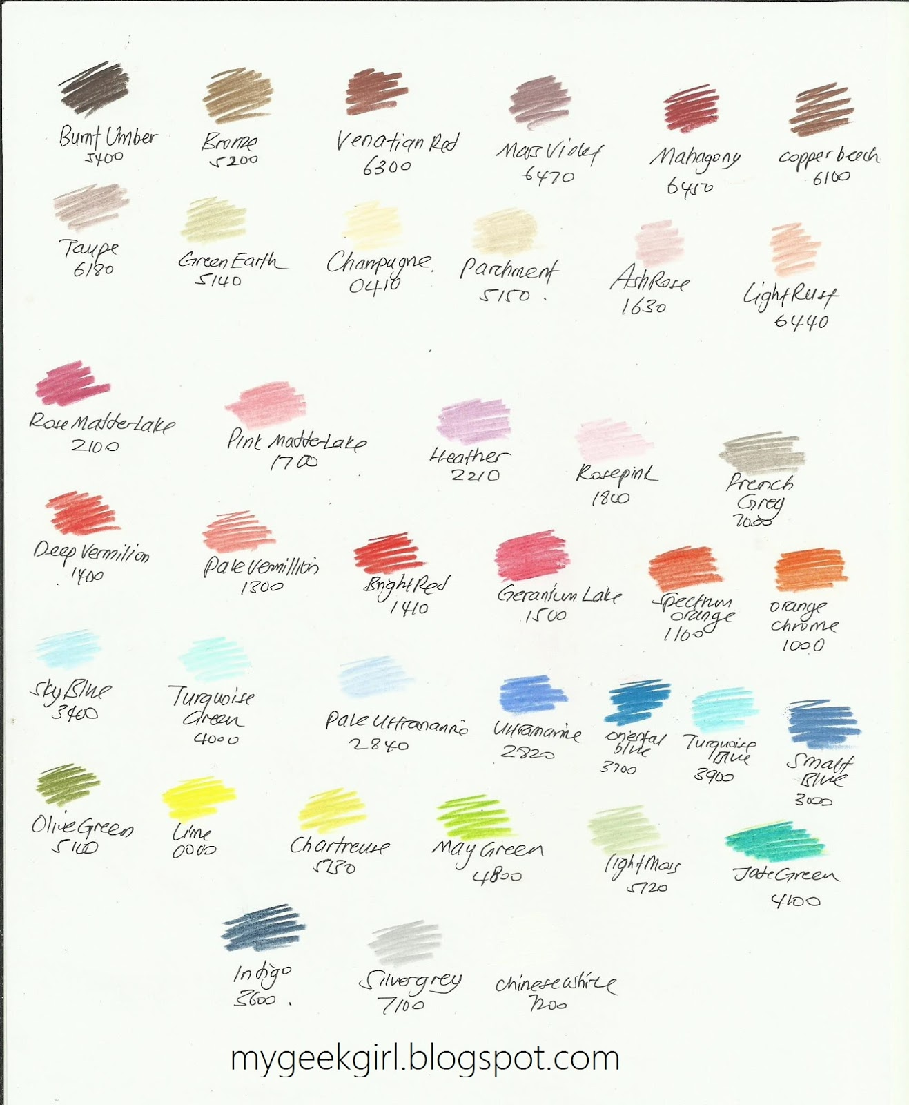 Color my life derwent artists series professional color pencils my humble little color charts of the 40 colours i bought separately nvjuhfo Gallery