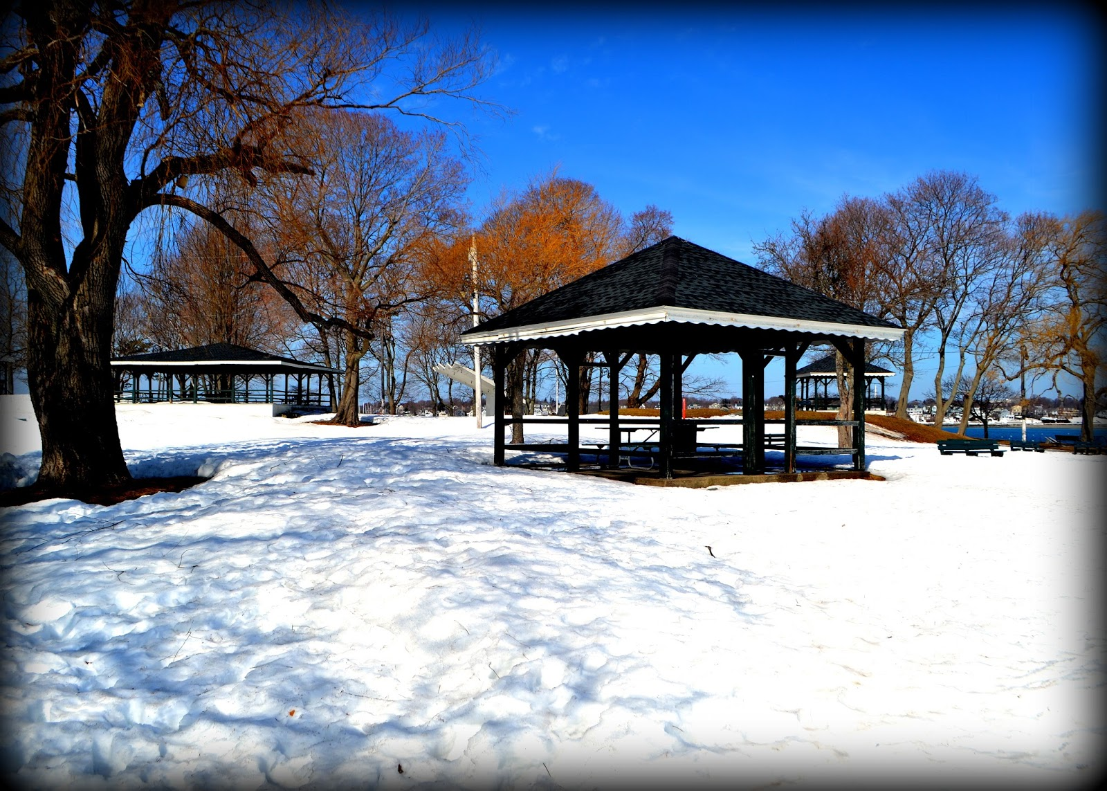 Gazebos, Salem Willows, massachusetts, shadows, salem sound, picnic