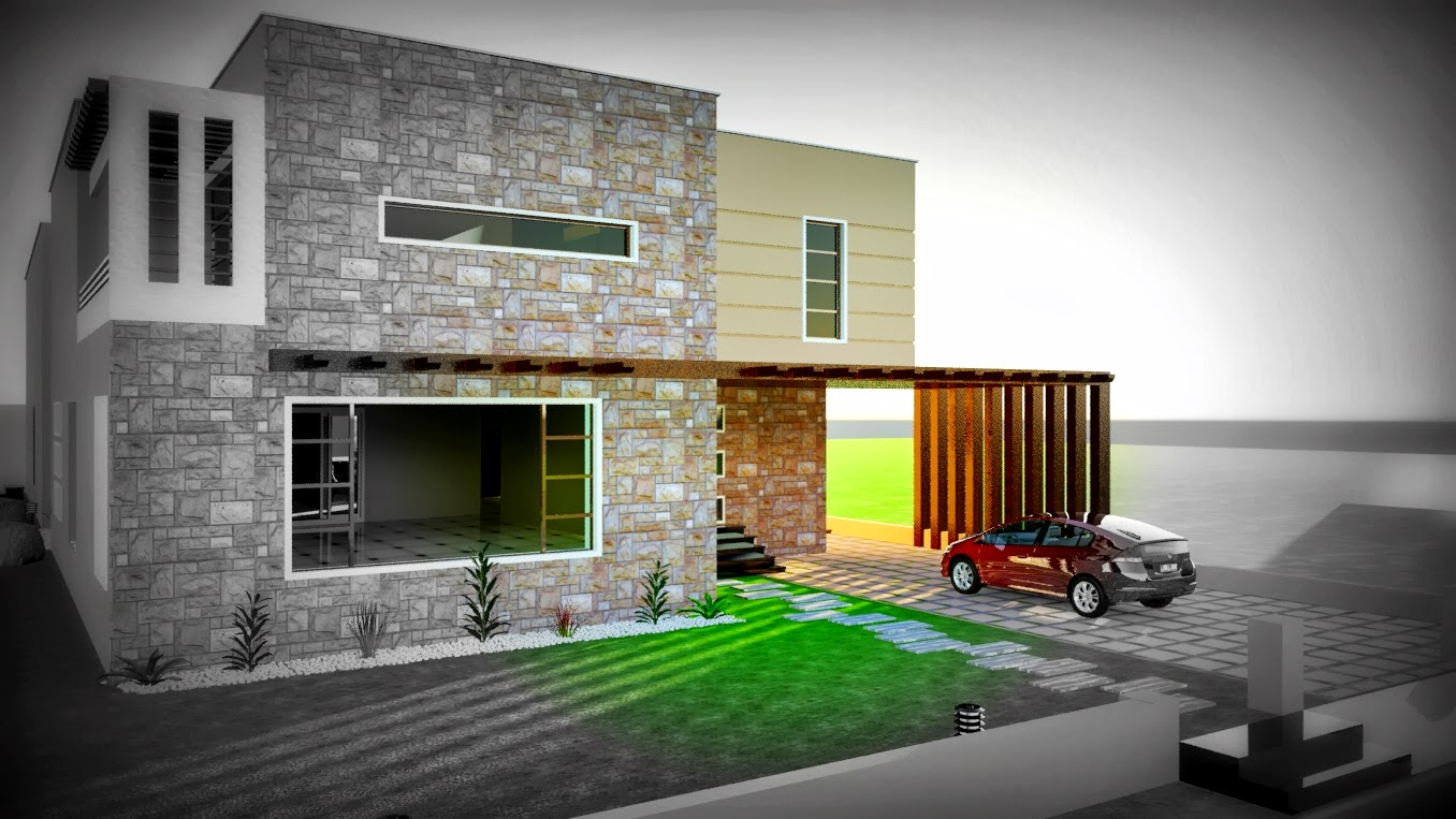 3D Front DHA KARACHI VII 3D FRONT ELEVATION SWIMMING POOL