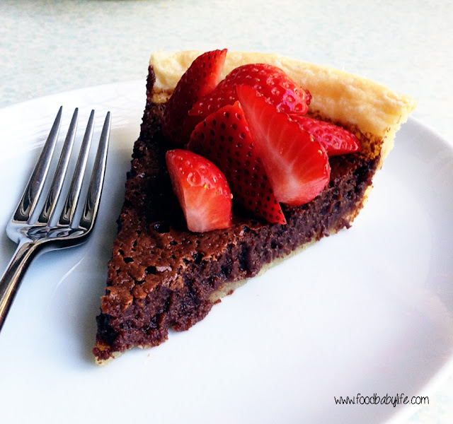 Chocolate Chess Pie with strawberries © www.foodbabylife.com