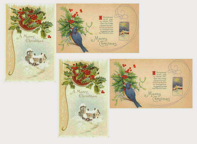 antique postcard printables for Christmas tree ornaments - KnickofTime.net