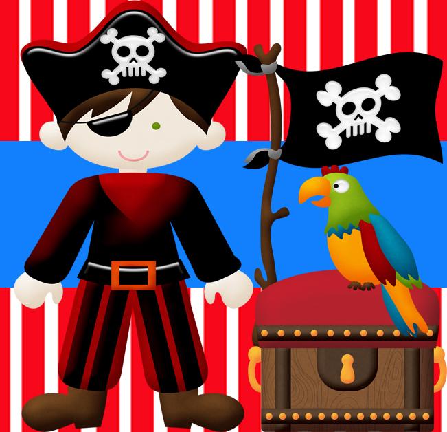 Kit para fiesta infantil tematica de piratas, incluye invitaciones
