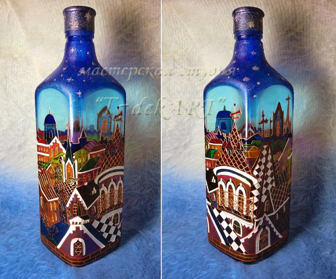 Вазы из бутылки: роспись, декор, обрезка (3 МК и 45 фото) 7