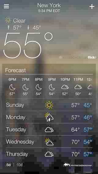 Yahoo Weather, iPhone Weather Widgets  Free Download, iPhone Applications