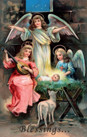 Printable catholic christmas cards angels and baby jesus