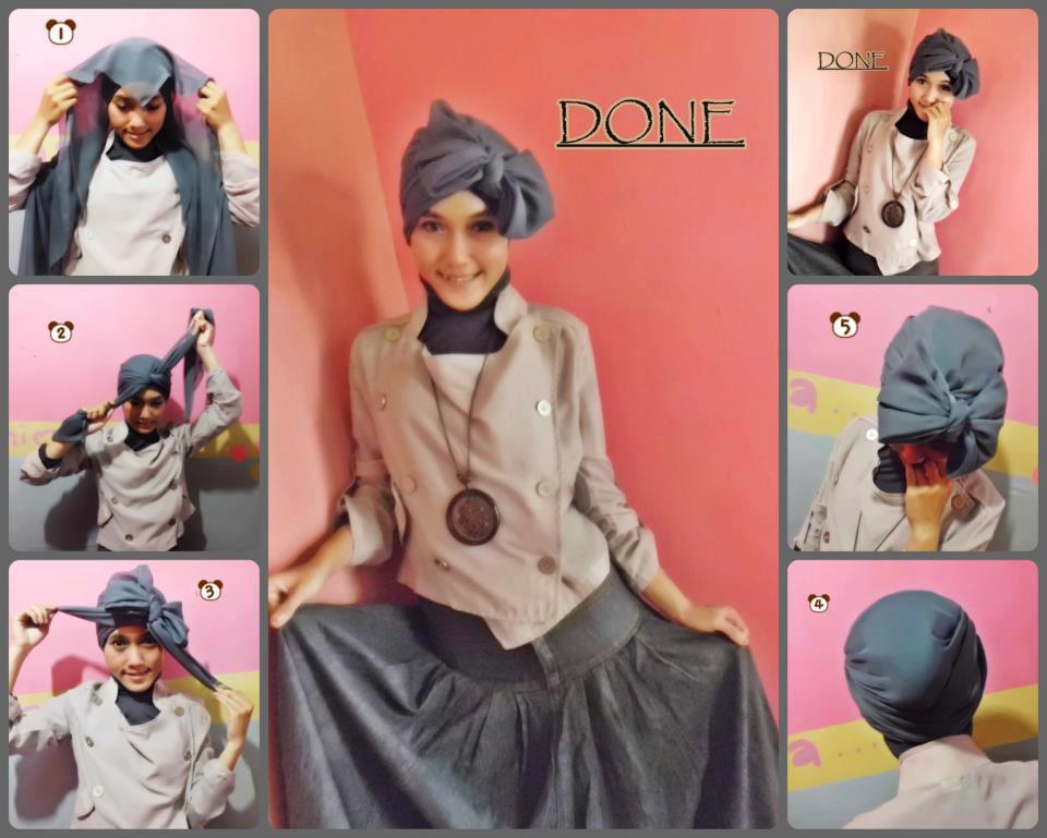 kok cukup dengan 3 langkah saja kreasi jilbab paris gaya turban siap ...