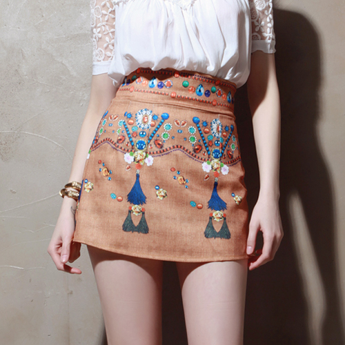 Boho Digital Print Skater Skirt