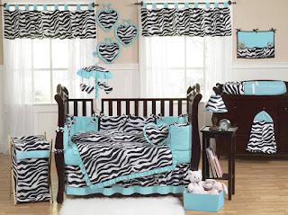 Turquoise Blue Zebra Baby Bedding