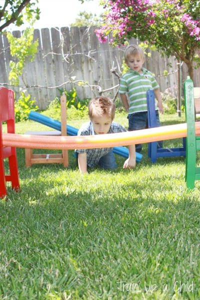 pool noodle backyard obstacle course learn play imagine