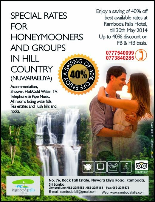 Special rates for honeymooners  and groups in hill country  (Nuwaraeliya)