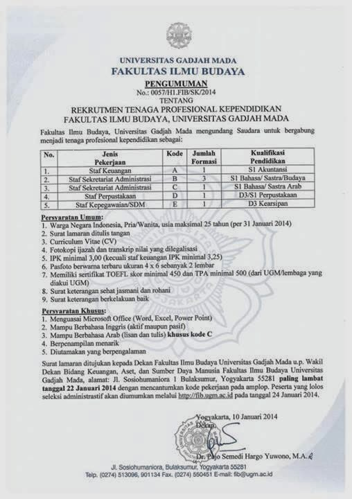 Lowongan Kerja Tenaga Profesional Kependidikan Fakultas Ilmu Budaya UGM