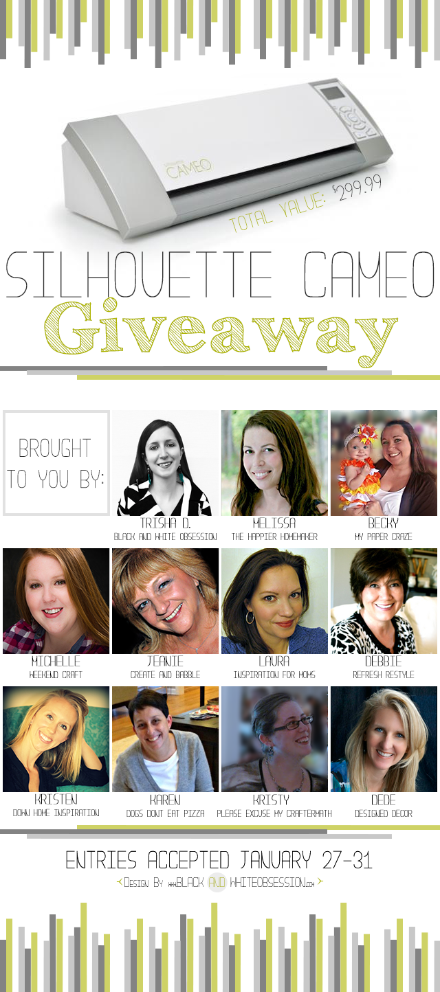 January Silhouette Cameo Group Giveaway with 11 Fantastical Bloggers | www.blackandwhiteobsession.com