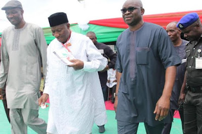Ayo Fayose and Goodluck Jonathan in Bayelsa state to conduct PDP Primaries.