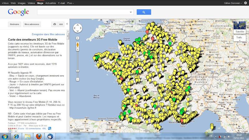 Carte des émetteurs 3G Free Mobile