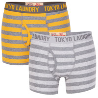 Tokyo Laundry Men's Lzumi 2-Pack Boxers - Gold/Grey: