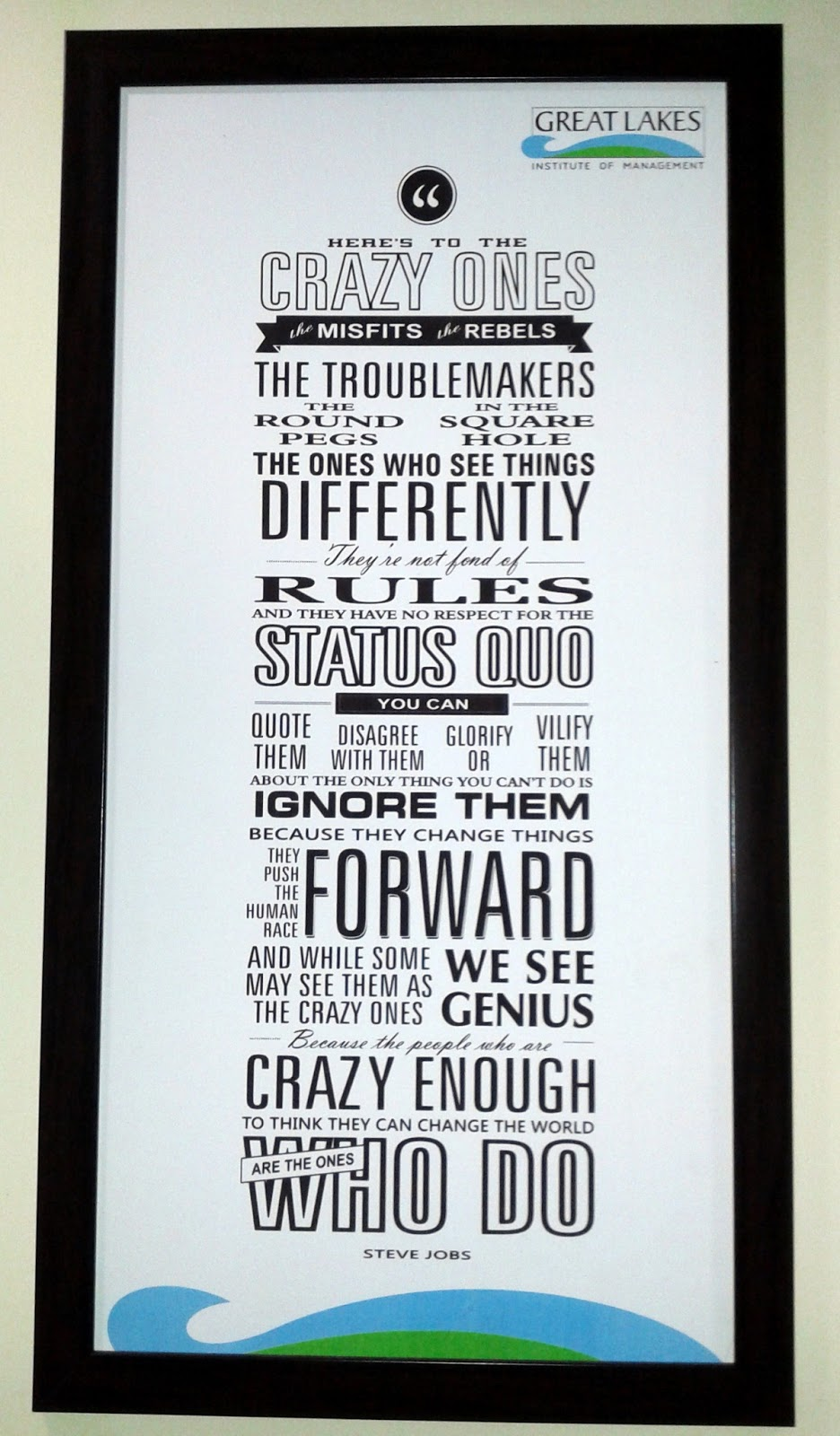 Here's to the Crazy Ones Quote Steve Jobs