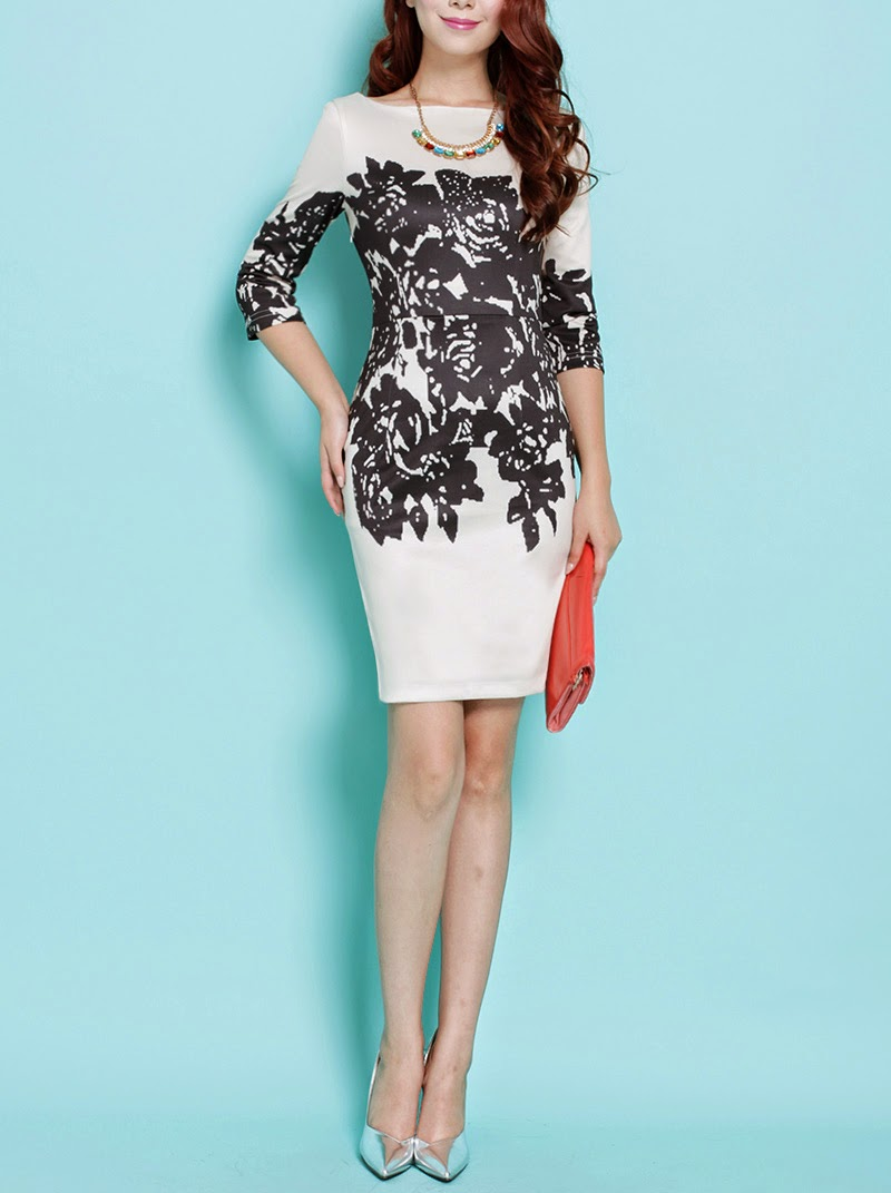 Black Rose Print Light Beige Dress