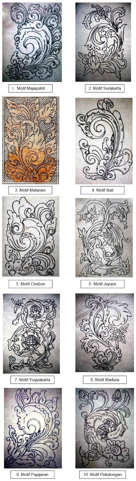 motif hias Majapahit, Pajajaran, Bali, Surakarta, Pekalongan, Cirebon, Yogyakarta, Jepara, Madura, dan Mataram