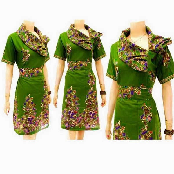 DB3768 Model Baju Dress Batik Modern Terbaru 2014