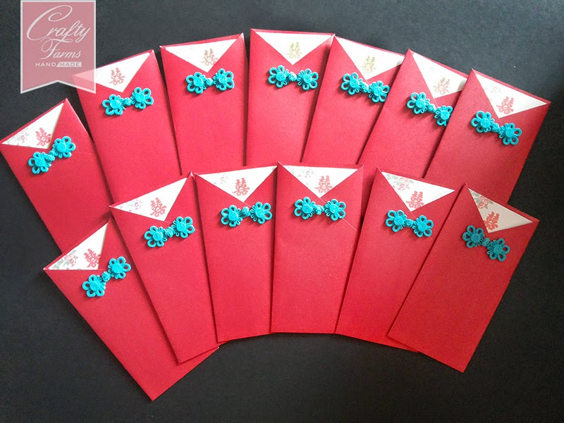 Oriental Red Pocket Wedding Card with Blue Chinese Button
