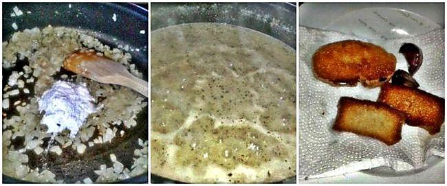 Preparación de la merluza con langostinos y pan frito