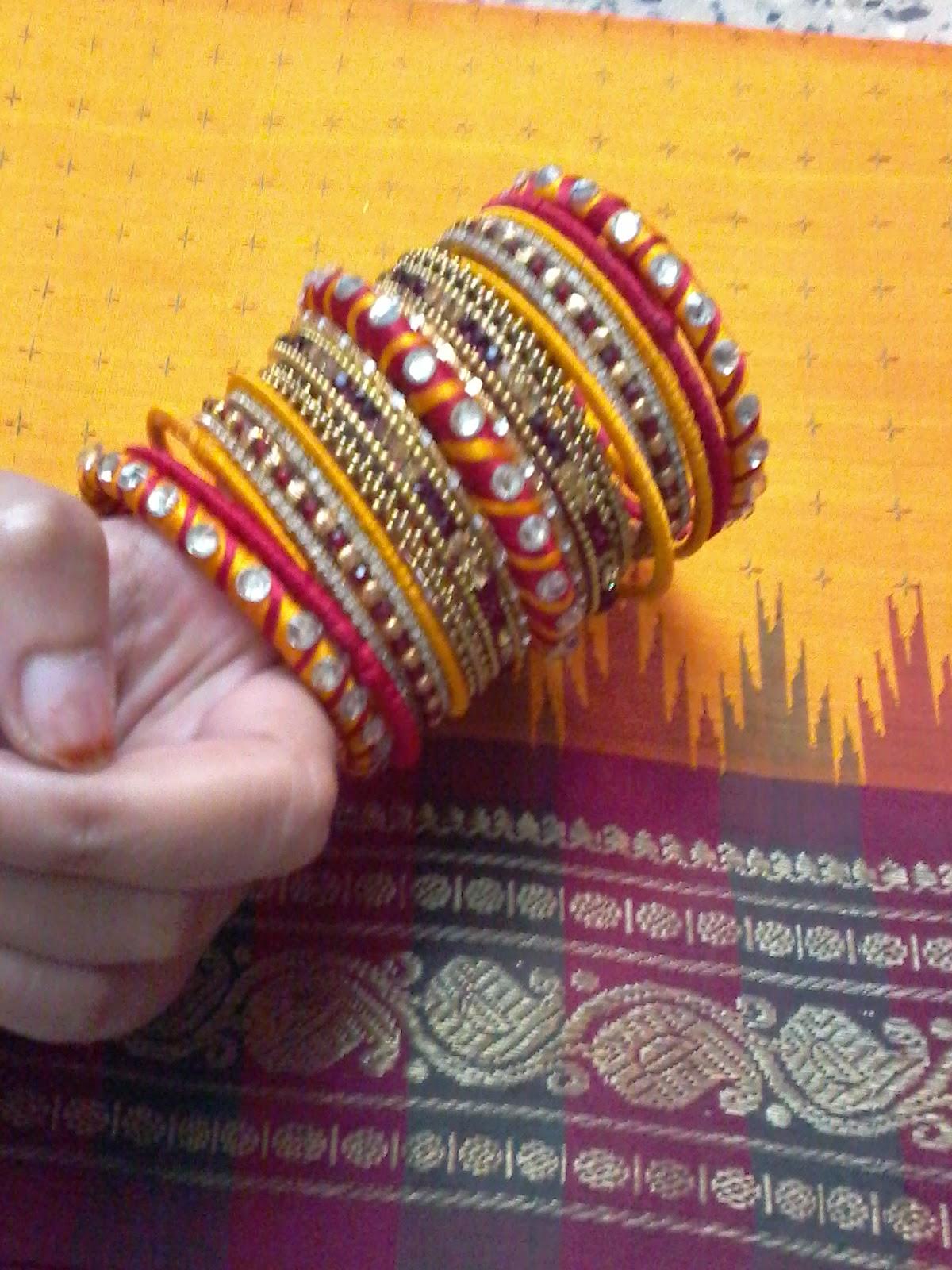 how to make silk thread bangles with zardosi work