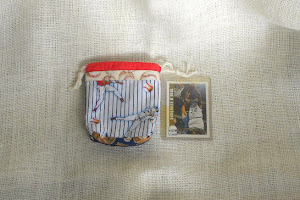 Mini Drawstring Bag in Baseball Fabric - $3.50