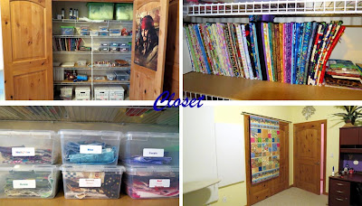 organized sewing room closet with mini bolts