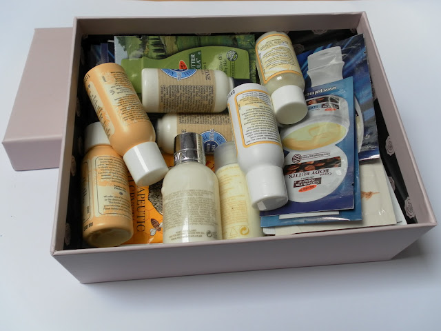 A picture of a box of beauty samples