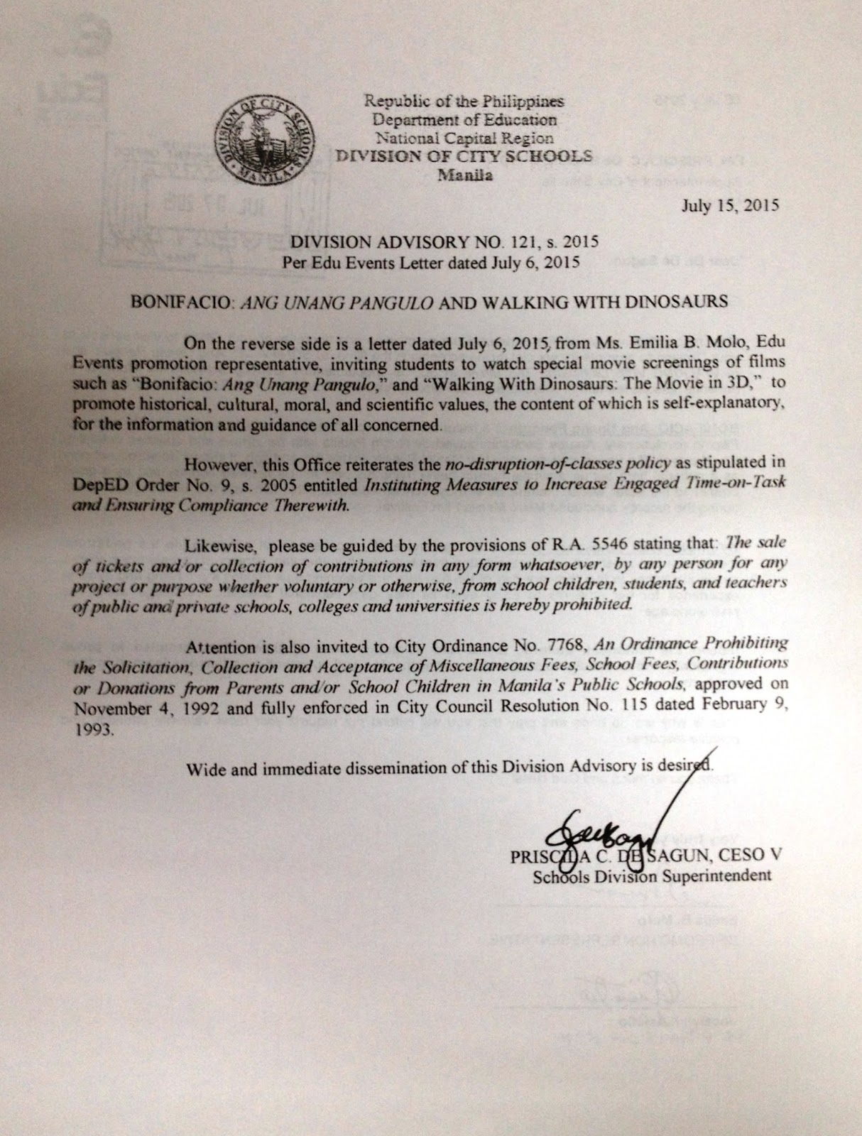 Division Advisory No 121 S 2015