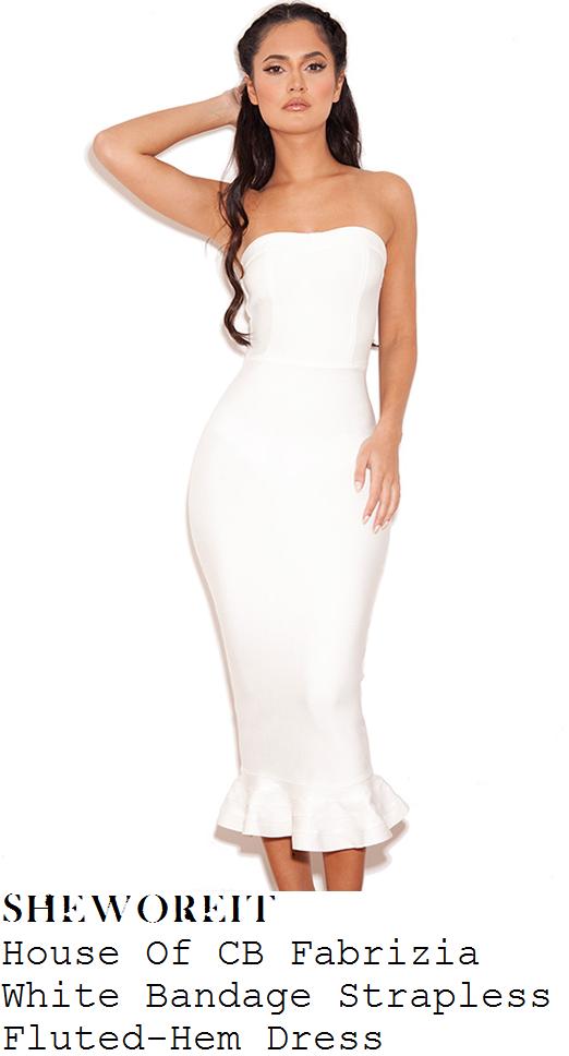 nicole-scherzinger-white-strapless-fluted-bandage-midi-dress