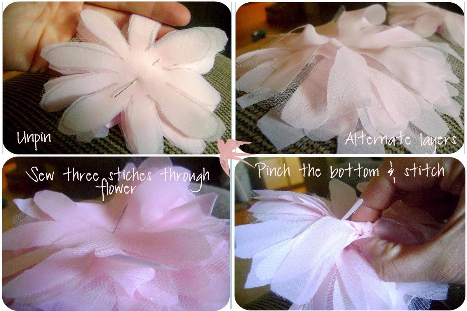 Цветы из тюли своими руками мастер класс схемы