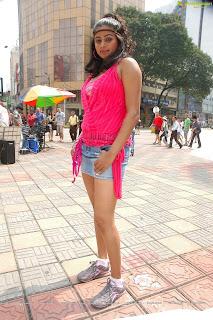 Priyamani in Spicy Pink Top and denim Shorts for movie Kshertam