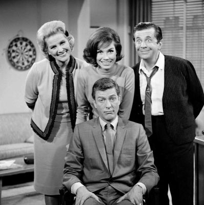 "Marie smiles with the cast of ""The Dick Van Dyke Show"":"