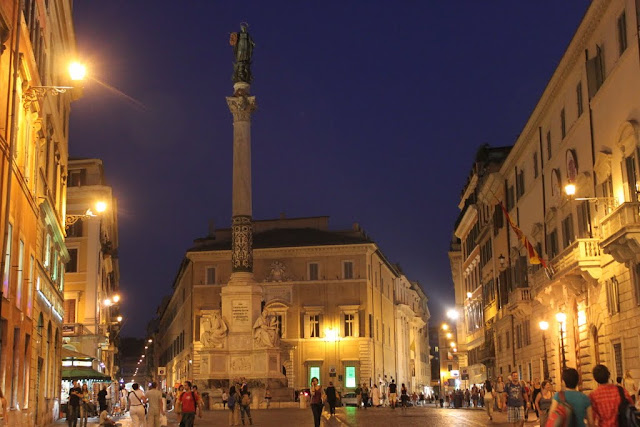 The obelisk at Piazza di Spagna or Spanish Square in Rome, Italy