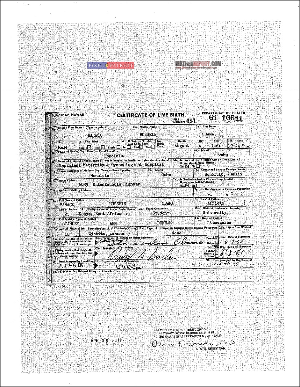 Three Birth Certificates Now Linked To Obama Eligibility Case Appeal