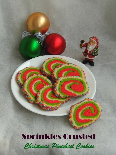 Christmas Pinwheel cookies, Sprinkles pinwheel cookies