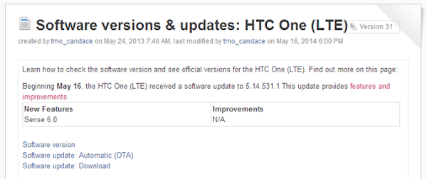 HTC One (M7) for T-Mobile receives Sense 6 update