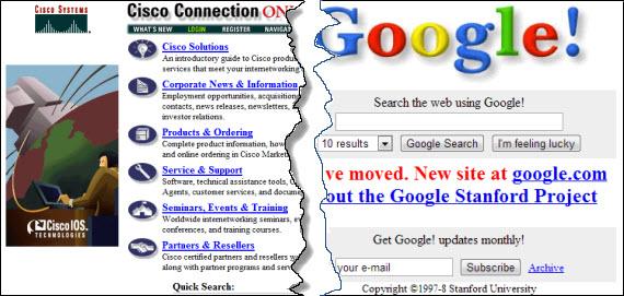 Los cambios de las páginas web en 15 años