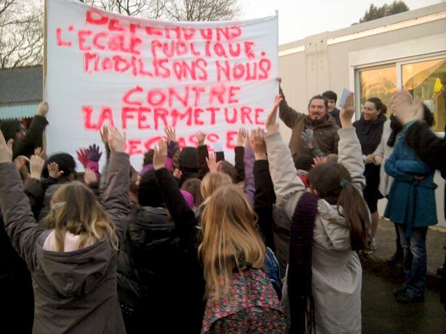 Manifestation à l'école