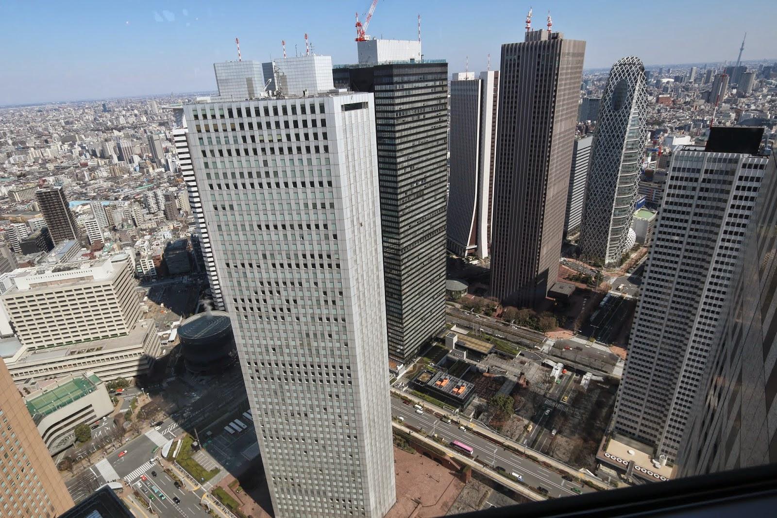Shinjuku Sumitomo, Shinjuku Mitsui and Mode Gakuen Cocoon Tower at the observation deck of Tokyo Metropolitan Government Building, Japan