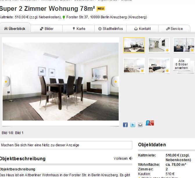 super 2 zimmer wohnung 78m forster 10999 berlin kreuzberg. Black Bedroom Furniture Sets. Home Design Ideas