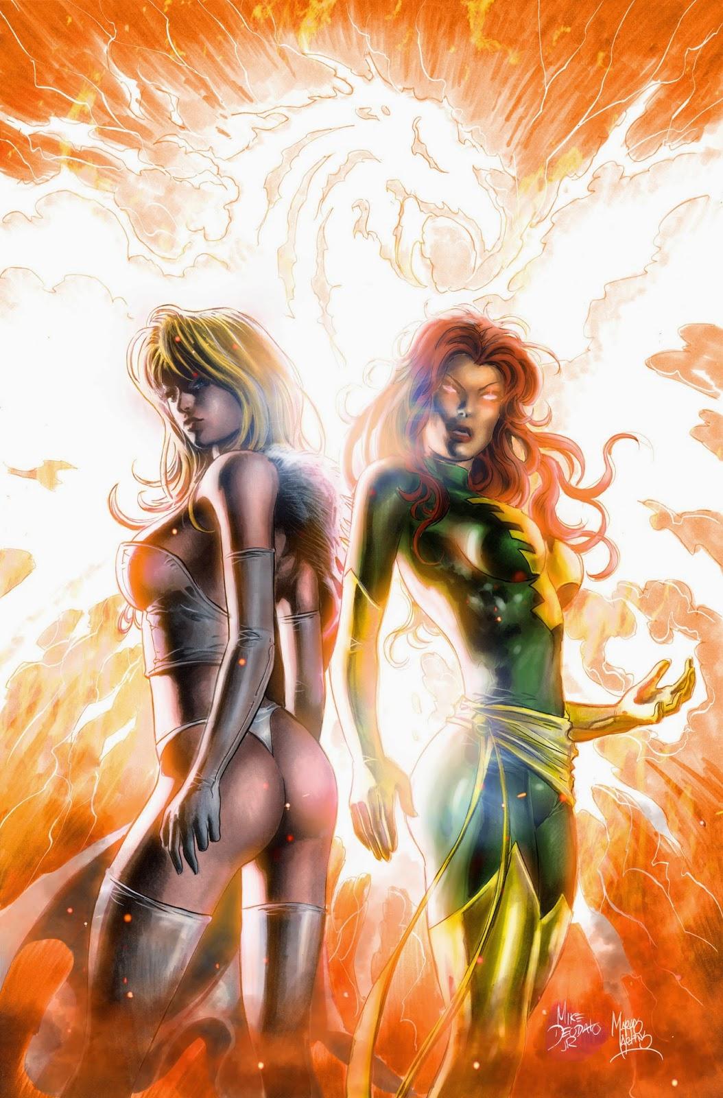 Emma Frost & Phoenix. Linhas e Pinturas por Mike Deodato. Cores por mim.