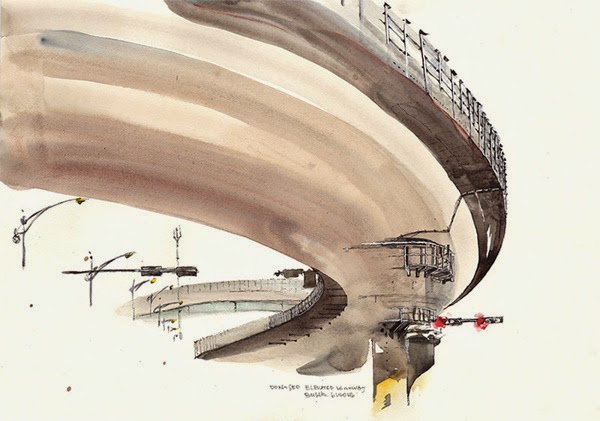 Water colour picture of Dongseo elevated highway, Busan