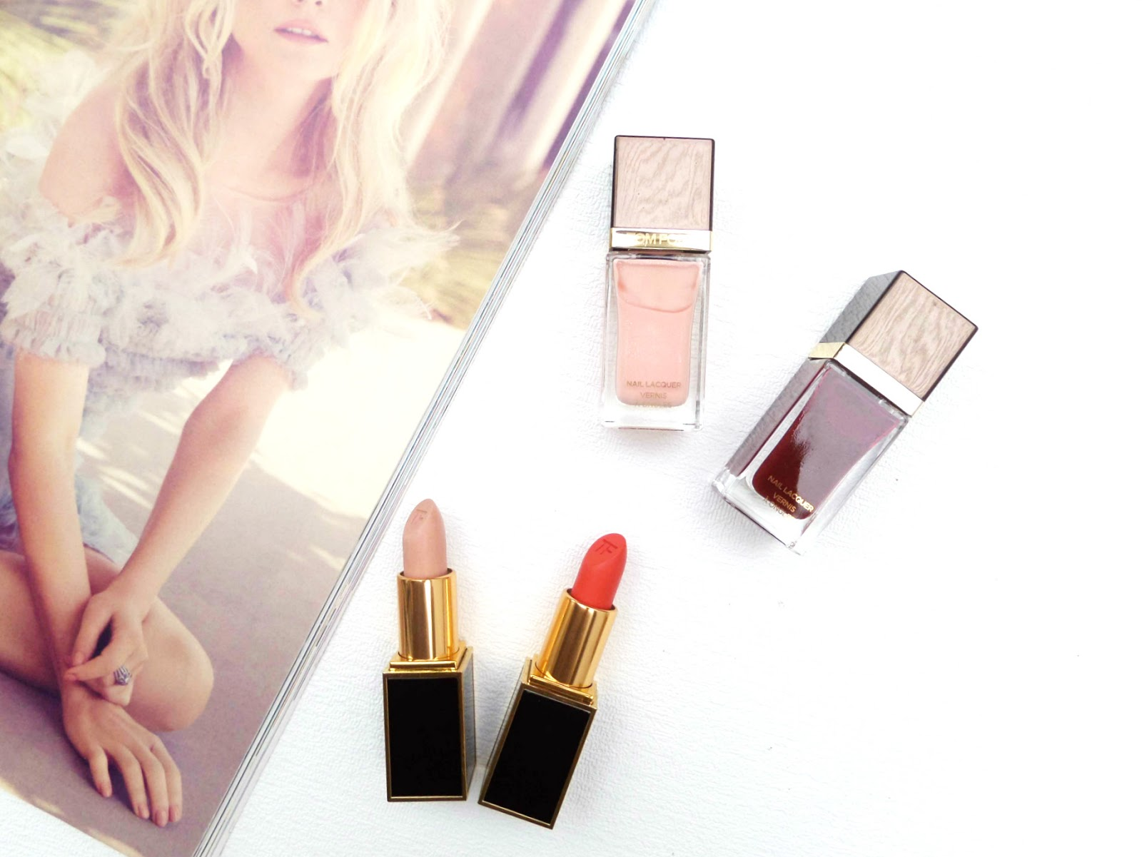 Wild Ginger tom ford lipstick, Vanilla Suede Tom ford lipstick, Bordeaux Lust Tom Ford Nail Polish, Show Me The Pink Tom Ford Nail Polish,