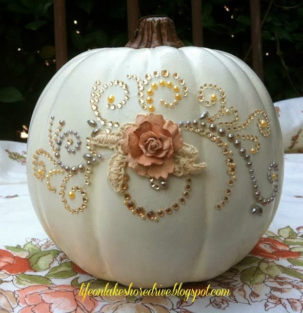 Wdw wedding day weekly blogging for brides jeweled White pumpkin carving ideas
