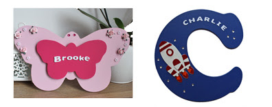 Wooden name plaques personalised kids door wall rocket butterfly