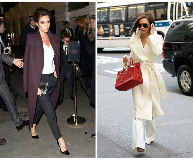 victoria beckham, style icon, white coat, classy outfit, chic ootd, fashion icon