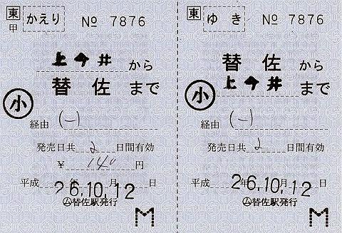 JR東日本 替佐駅 常備軟券乗車券2 発駅常備往復乗車券