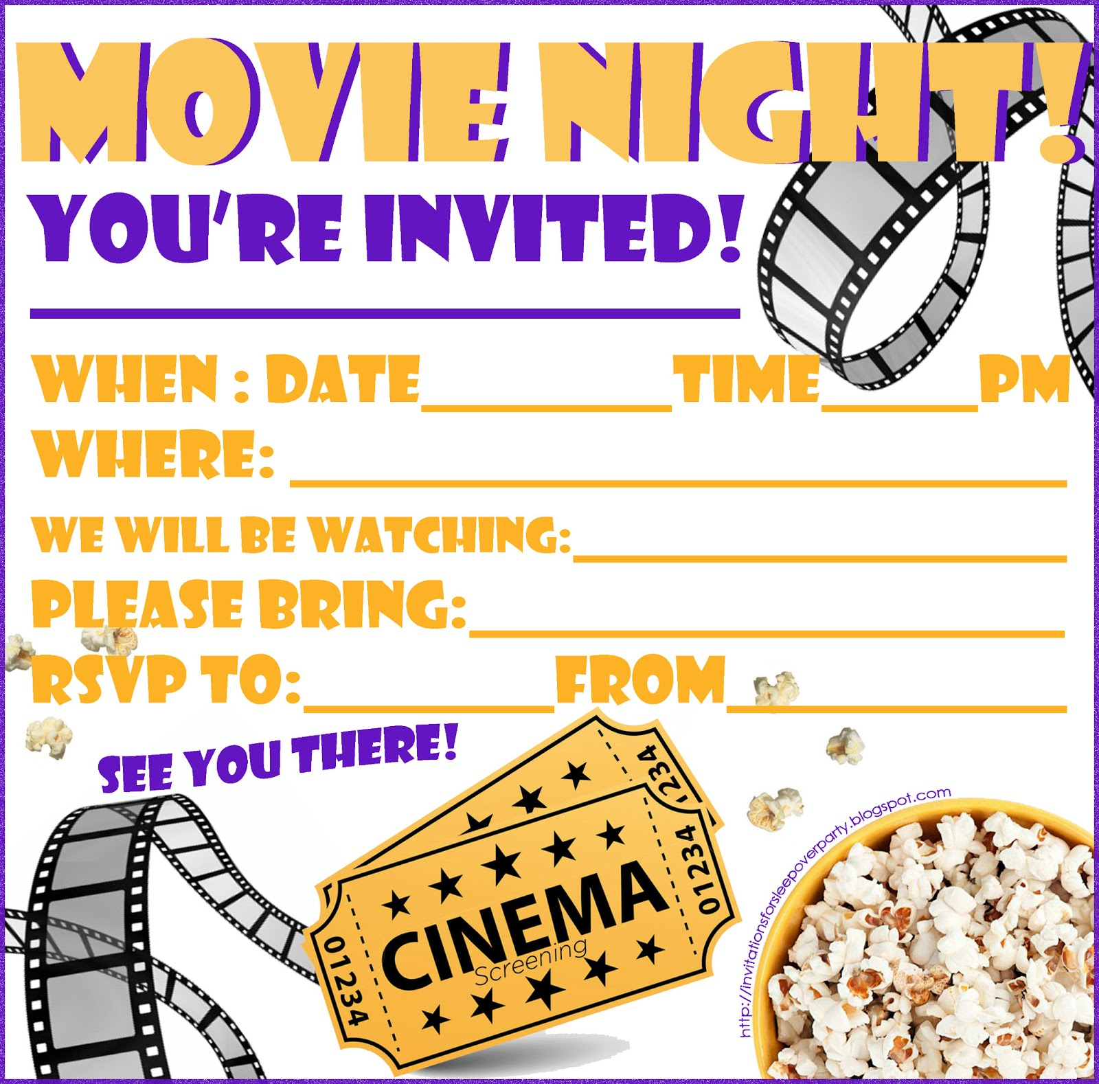 movie party invitations printable radiovkm.tk